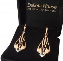 Ohrhänger Damen 925 Silber rose vergoldet mit großem Blautopas