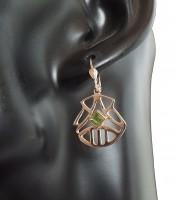 Damen Ohrringe 925 silber vergoldet mit echtem Peridot im Samtetui