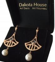 Ohrhänger Damen 925 Silber rose vergoldet mit großem Blautopas und Perlenabhängung