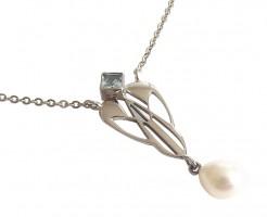 Hautfreundliche Halskette 925 Silber Blautopas Perlenabhängung