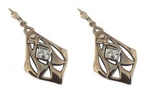 Ohrringe 925 Silber Blautopas kleine Perlenapplikation Vintage Stil Antik patiniert