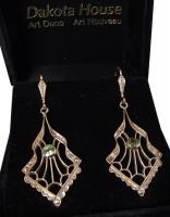 Damen Ohrringe 925 silber vergoldet Peridot Markasiten