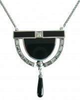 Art Deco Collier mit Onyxabhängung und Swarovskikristallen