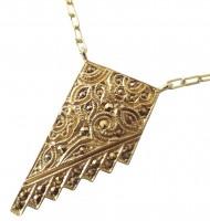 Halskette 925 Silber vergoldet mit Jugendstilornamenten