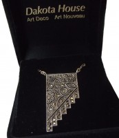 Halskette 925 Silber mit Markasiten und Jugendstilornamenten