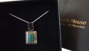 Halskette 925 Silber mit glänzendem Onyx, grünem Achat und Markasiten
