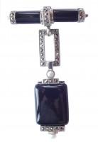 Brosche 925 Silber Onyx / Onyx mit Perlen und Markasiten im Art Deco Stil