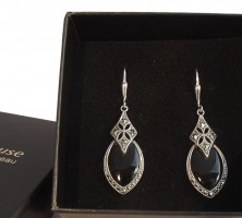 Damen Ohrringe Vintage 925 Silber Onyx Markasiten