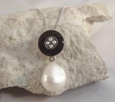 Damen Halskette Vintage 925 Silber Barockperle