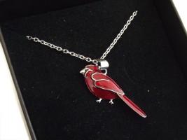 Damen Halskette Roter Kardinal 925 Silber