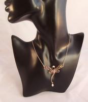 Collier Schmuck Jugendstil Märchenfigur 925 Silber rose vergoldet Opal Perle