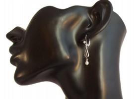 Damen Ohrringe Vintage 925 Silber Perlenabhängung