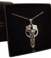 Halskette Deutscher Jugendstil 925 Silber patiniert mit Opal