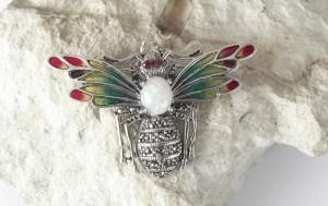 Damen Brosche Schmetterling 925 Silber mit Emaille