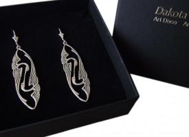 Jugendstil Ohrringe Kraniche 925 Silber