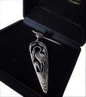Halskette Jugendstil 925 Silber Kranich