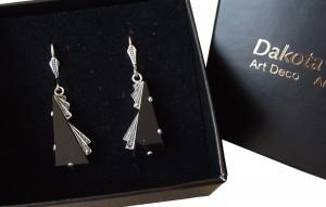 Ohrringe Onyx Markasiten 925 Silber Art Deco
