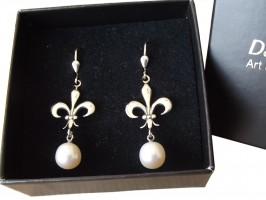 Ohrringe 925 Silber Perlenabhängung Lilie