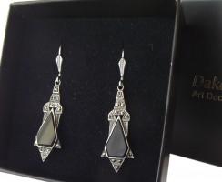 Ohrringe Onyx Markasiten 925 Silber im Art Deco Style