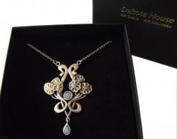 Halskette 925 Silber massive Opale Jugendstil